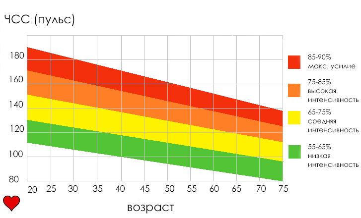 пульсовые зоны шкала