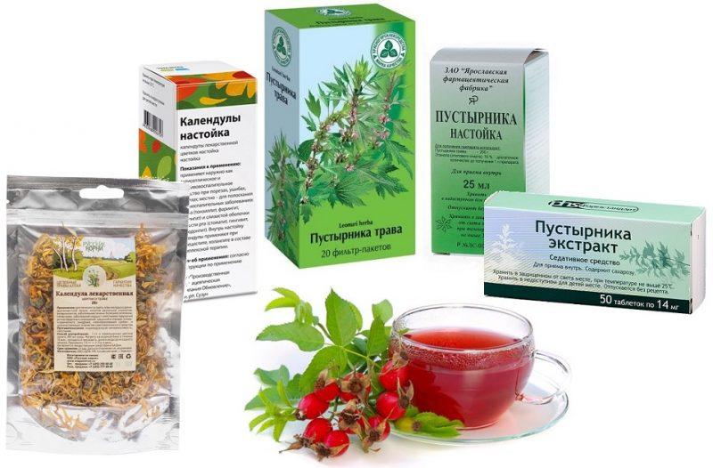 трава таблетки и капли пустырника. календула и чай